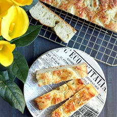 No-Knead Focaccia with Cheese and Herbs