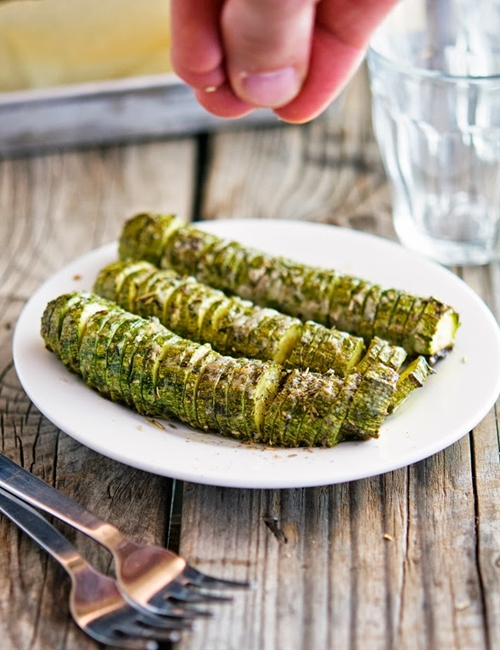 Hasselback Zucchini with Garlic Thyme Butter and Parmesan