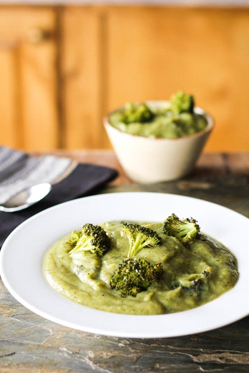 Vegan Cream of Roasted Broccoli and Cauliflower Soup