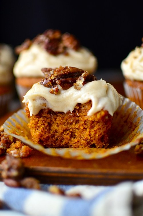 Pumpkin Cupcakes with Browned Butter Cream Cheese Frosting and Sugared