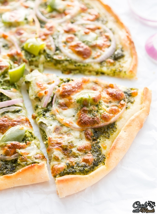 Onion & Bell Pepper Pesto Pizza