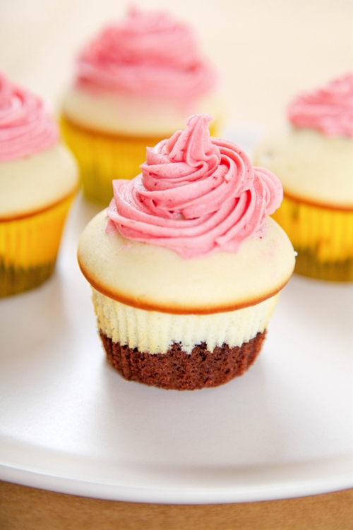 Neapolitan Cupcakes with Strawberry Buttercream Frosting