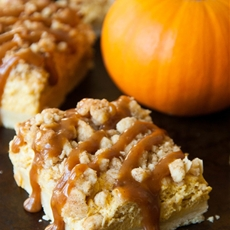 Cinnamon Caramel Pumpkin Cheesecake Shortbread Crumble Bars