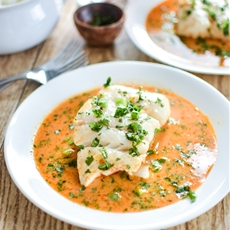 Poached Halibut in Tomato Curry Broth