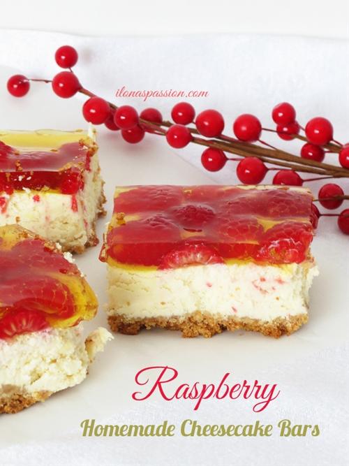 Raspberry Homemade Cheesecake Bars