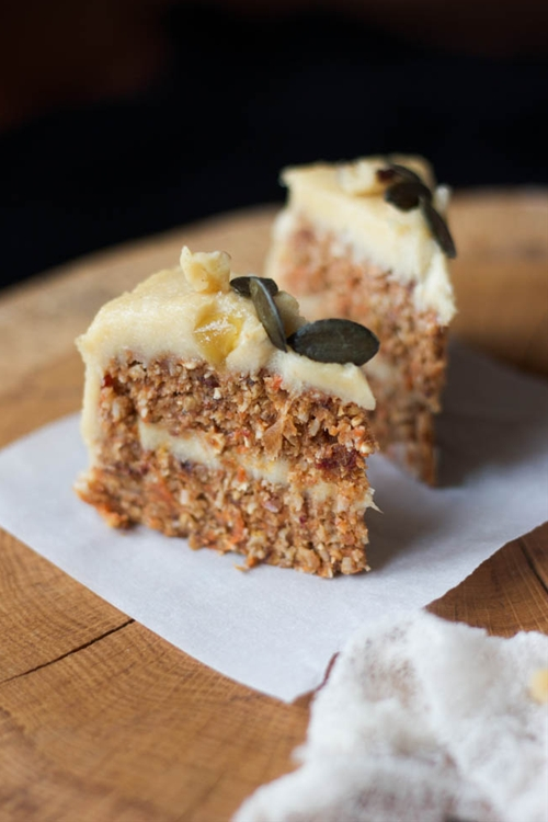 Raw Carrot Cake with Cashew Lemon Cream
