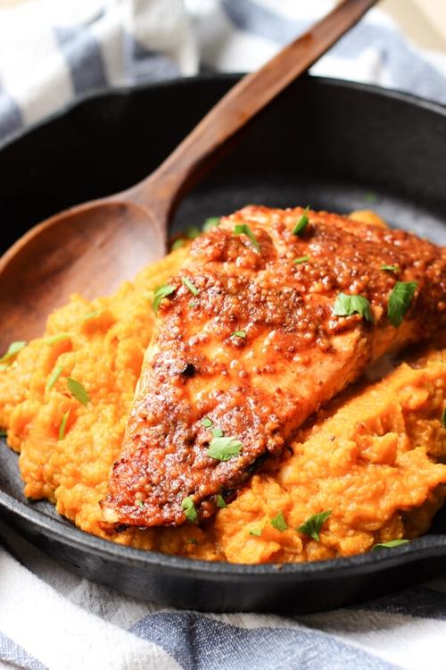 Maple Mustard Glazed Salmon with Sweet Potato Mash