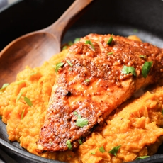 Maple Mustard Glazed Salmon with Sweet Potato Mash