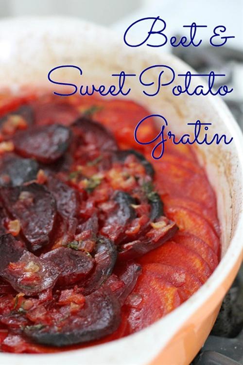 Beet and Sweet Potato Gratin