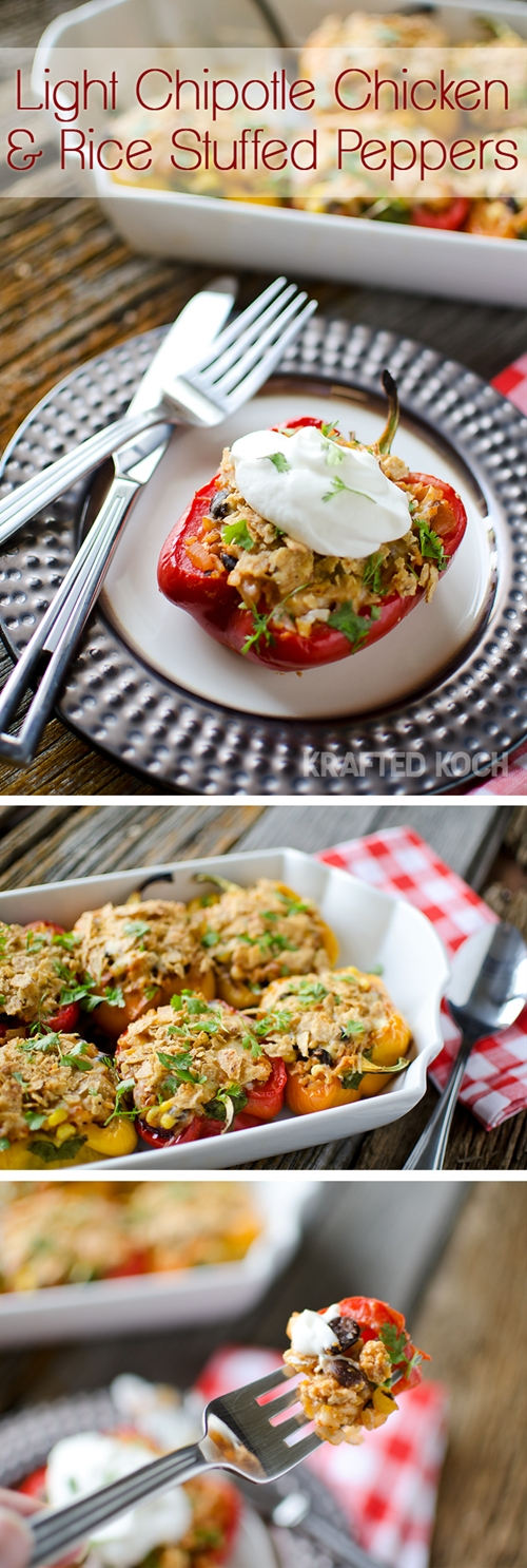 Light Chipotle Chicken & Rice Stuffed Peppers