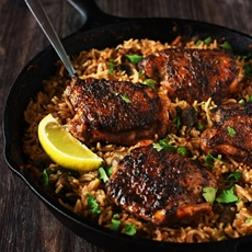 One Pan Spanish Rice & Spiced Chicken