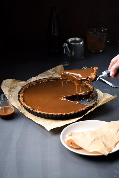 Salted Bourbon Caramel and Chocolate Nutella Tart