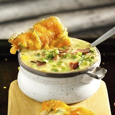 30-Minute Corn & Chicken Chowder with Tuna Melts