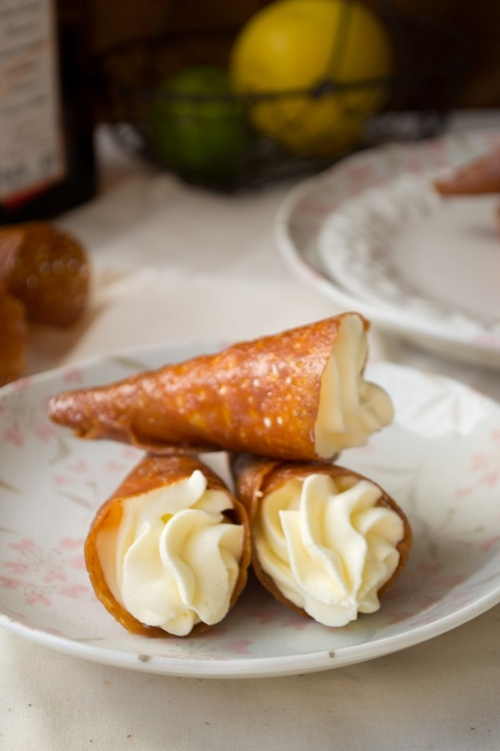 Coconut Tuile Cones with Cointreau Cream recipe | Chefthisup