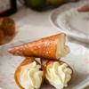 Coconut Tuile Cones with Cointreau Cream