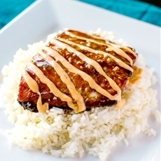 Teriyaki Salmon with Sriracha Cream Sauce