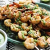 Cilantro Lime Grilled Shrimp + Roasted Poblano Sauce