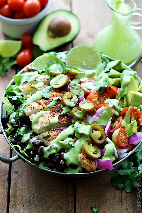 Grilled Chicken Taco Salads with Spicy Cilantro Lime Dressing