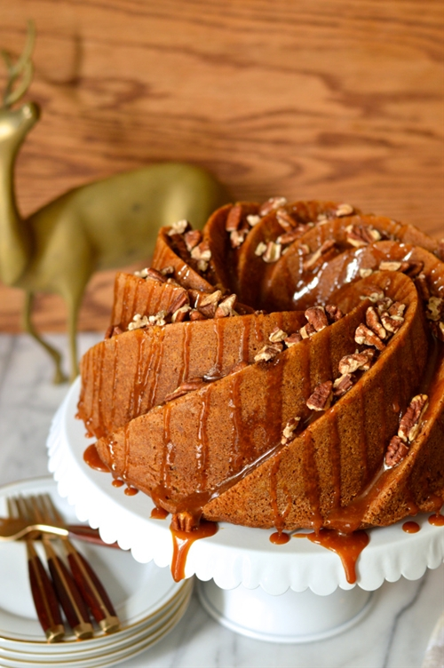Brown butter praline bundt cake with salted caramel drizzle