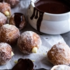 Vanilla Cream Filled Cabernet Hot Chocolate Snowball Doughnuts