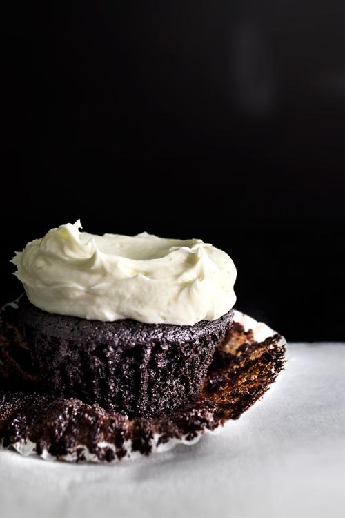 Sea salt buttercream on a chocolate cupcake