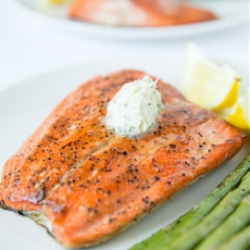 Pan Seared Salmon with Dill Butter