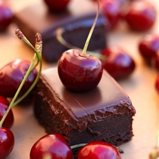 Baileys Brownie with cherry gel and chocolate cherry ganache