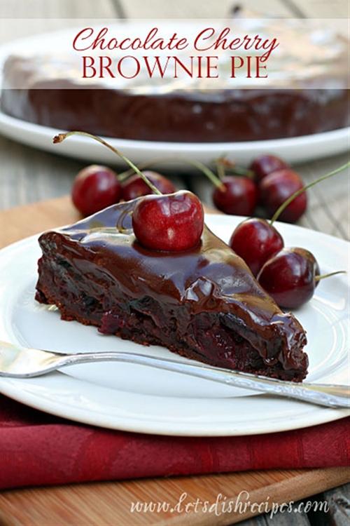 Chocolate Cherry Brownie Pie