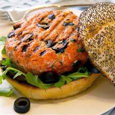 California Salmon Burger with Olives