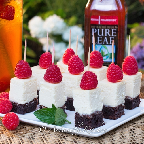 Raspberry Brownie Cheesecake Bites