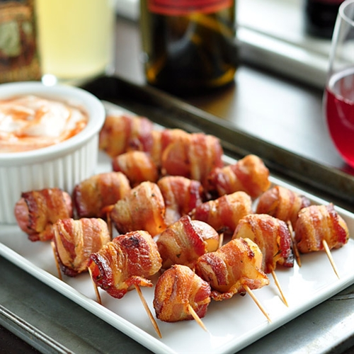 Party Recipe:  Bacon-Wrapped Potato Bites with Spicy Sour Cream Dippin