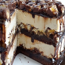 Snickers Peanut Butter Brownie Ice Cream Cake