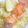 Salmon Shish Kabob & Spaghetti in Creamy Dill Sauce