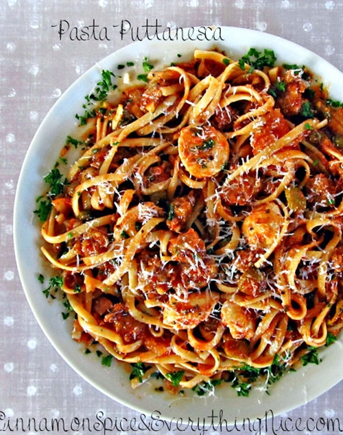 Pasta Puttanesca with Hot Sausage and Bocconcini