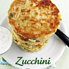 Zucchini Feta Fritters with Tzatziki Sauce