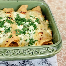 Shrimp Enchiladas with Green Chile Sauce