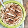 Oven Fried Peanut Butter Panko Chicken with Coconut Noodles