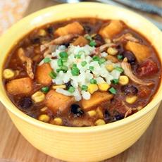 Black Bean, Sweet Potato and Chicken Chili