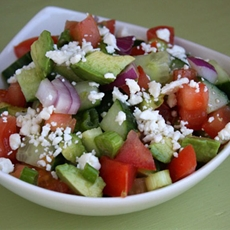 Avocado- cucumber tomato salad