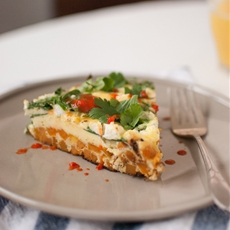 Baby Spinach Frittata with Sweet Potato Hash Crust