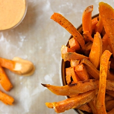 Sweet Potato Fries with Sriracha Crème Fraîche