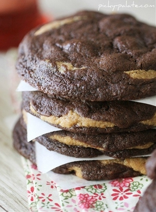Chocolate Fudge Peanut Butter Cookie Stuffed Cookies