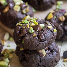 Double Chocolate Chunk Pistachio Cookies