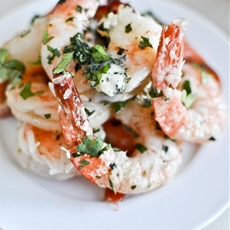 Roasted Basil Butter Parmesan Shrimp