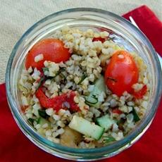 Cookbook Grain and Veggie Salad Over Shredded Cabbage