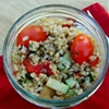 Cookbook Grain and Veggie Salad Over Shredded Cabbage