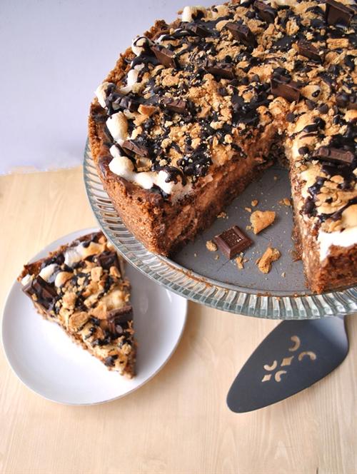 SMores Cheesecake with Baileys Irish Cream Hot Fudge