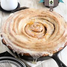 Giant Skillet Cinnamon Roll  with Orange-Cream Cheese Glaze