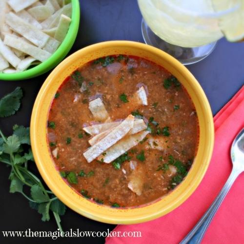 Skinny Slow Cooker Chicken Tortilla Soup