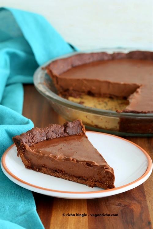 Dark Chocolate Silk Pie with Chocolate Almond Crust